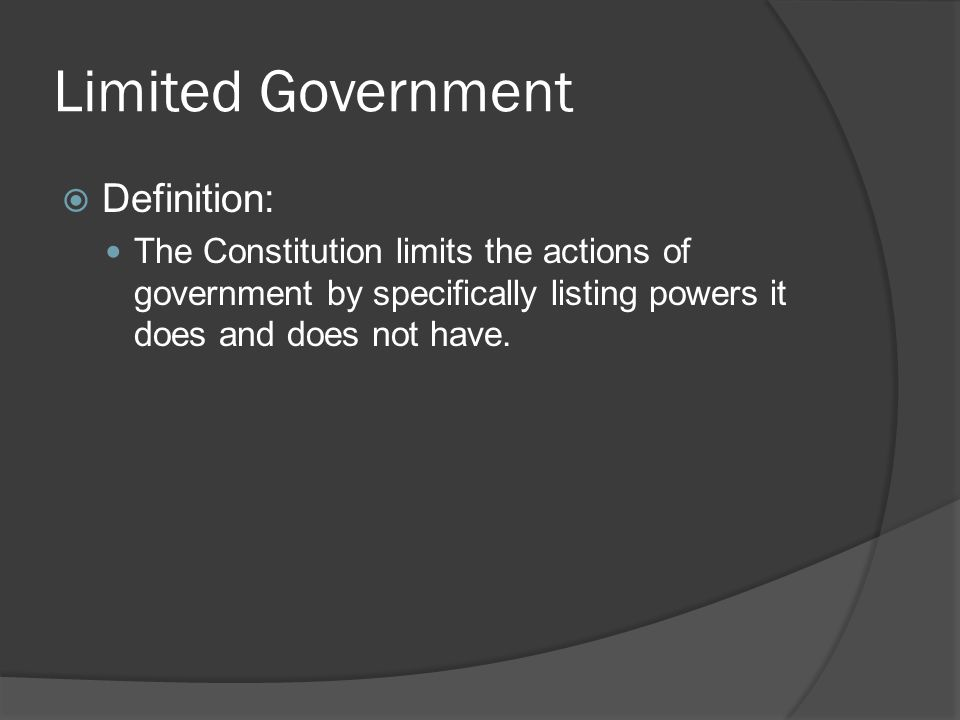 us government limiting powers The founders of the american constitution tried very hard to limit power and protect rights they tried to establish a power to limit power and to protect rights—a government of diffused powers with built-in checks and balances.