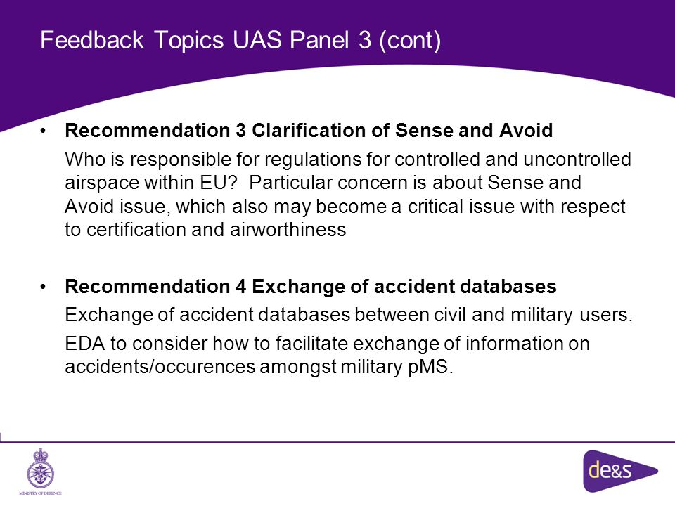 Feedback Topics UAS Panel 3 (cont)