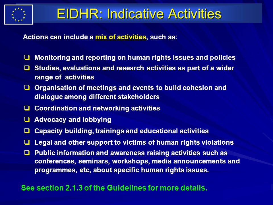 EIDHR: Indicative Activities