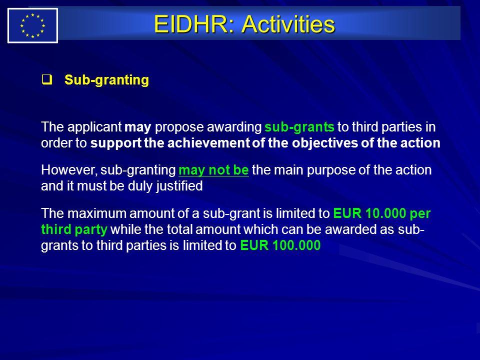 EIDHR: Activities Sub-granting