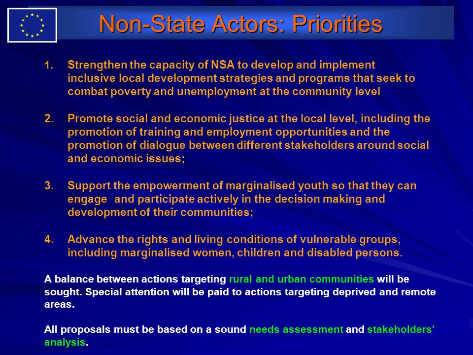 Non-State Actors: Priorities