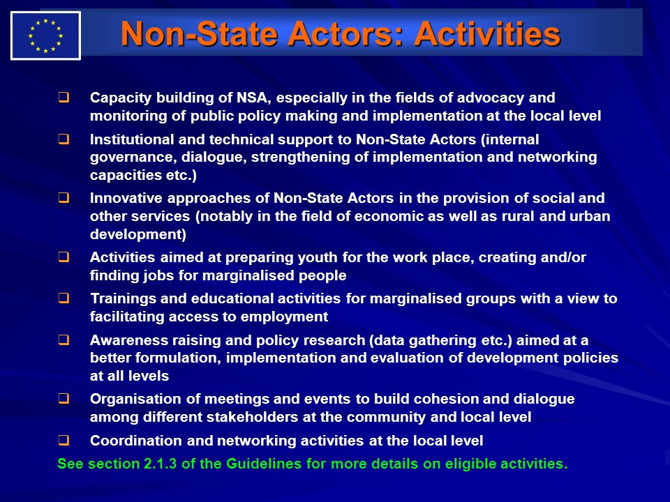 Non-State Actors: Activities