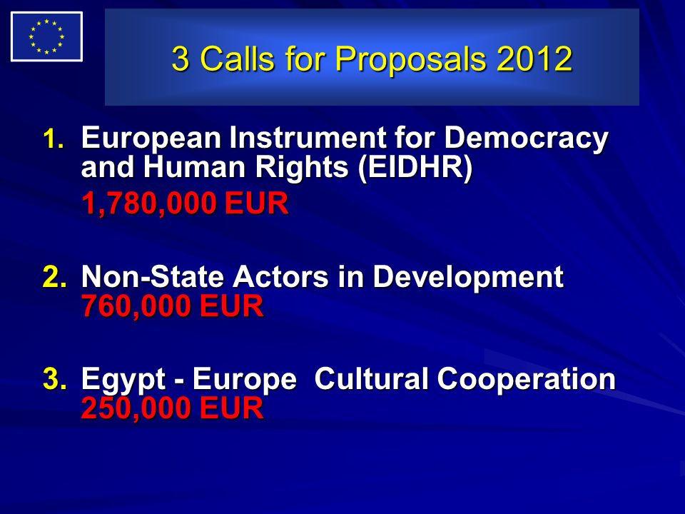 3 Calls for Proposals 2012 European Instrument for Democracy and Human Rights (EIDHR) 1,780,000 EUR.
