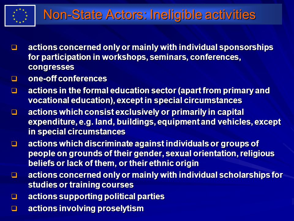 Non-State Actors: Ineligible activities