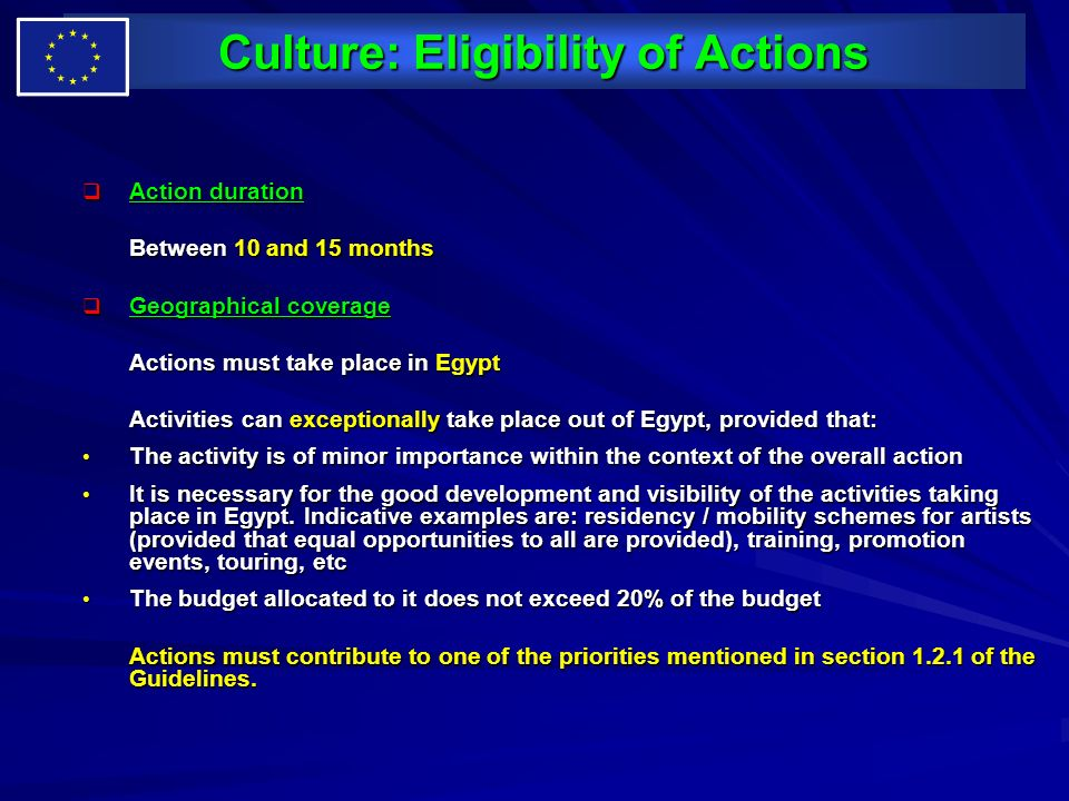 Culture: Eligibility of Actions