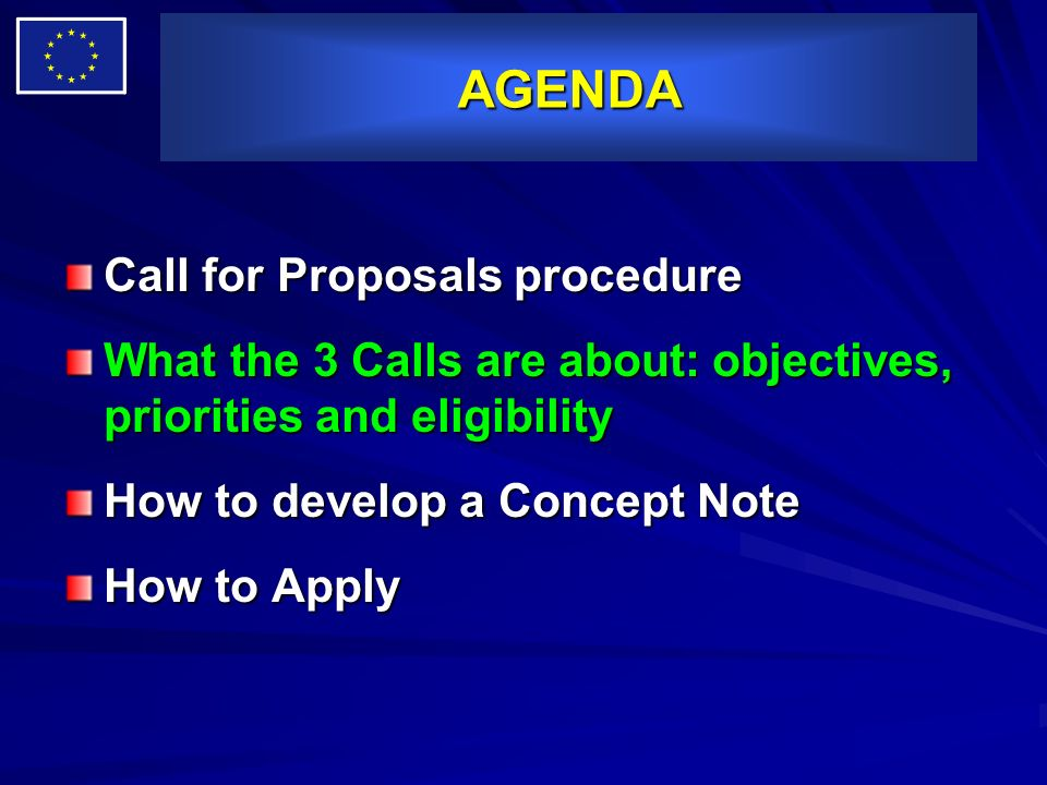 AGENDA Call for Proposals procedure