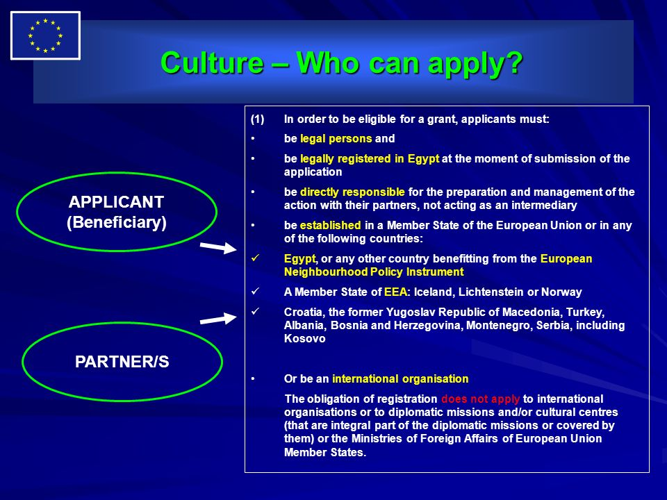 Culture – Who can apply APPLICANT (Beneficiary) PARTNER/S