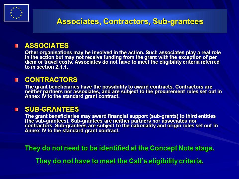 Associates, Contractors, Sub-grantees