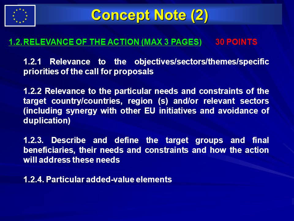 Concept Note (2) 1.2. RELEVANCE OF THE ACTION (MAX 3 PAGES) 30 POINTS