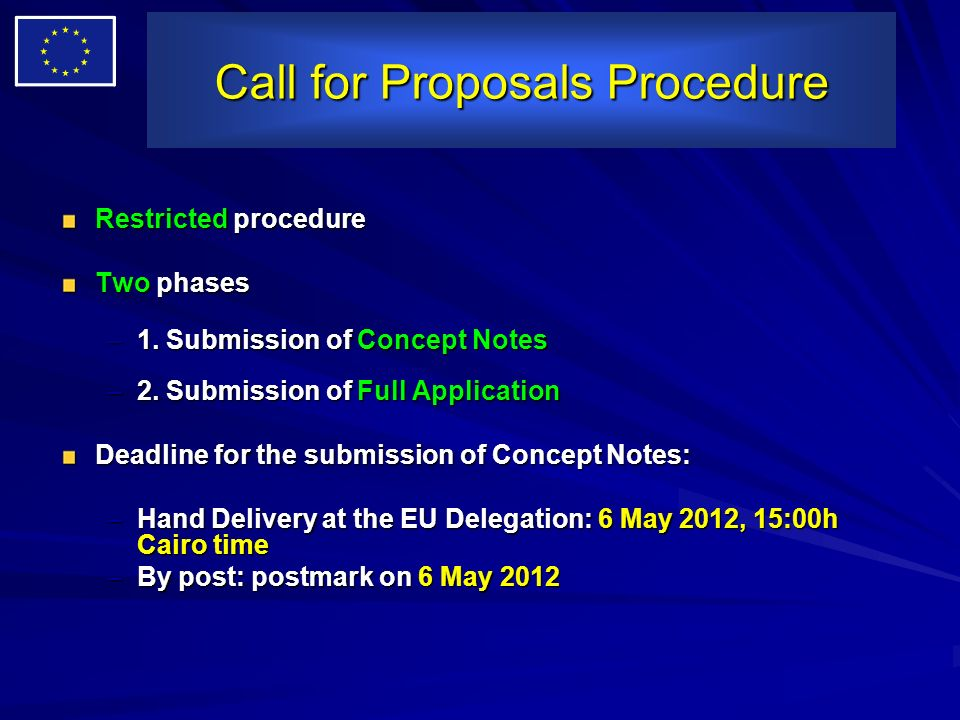 Call for Proposals Procedure