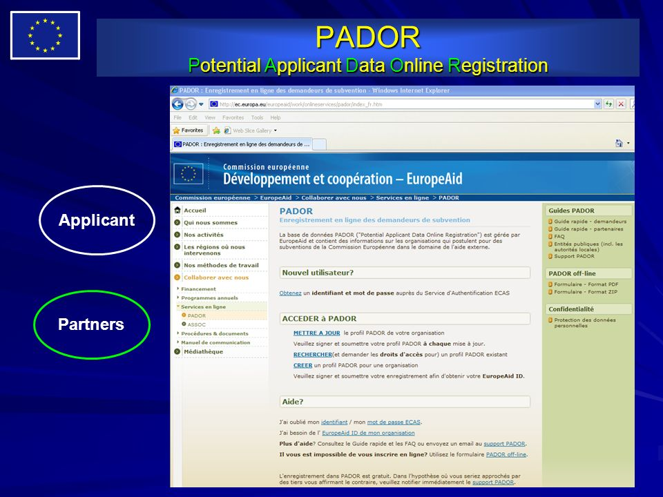 PADOR Potential Applicant Data Online Registration