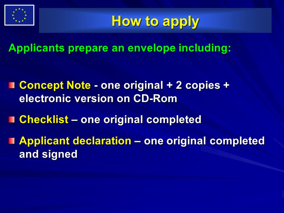 How to apply Applicants prepare an envelope including: