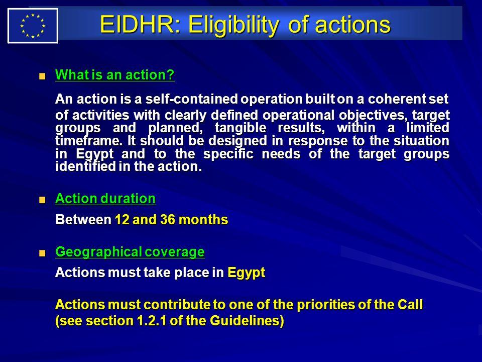EIDHR: Eligibility of actions
