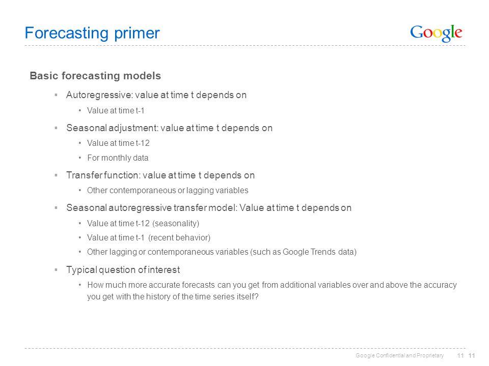Forecasting primer Basic forecasting models
