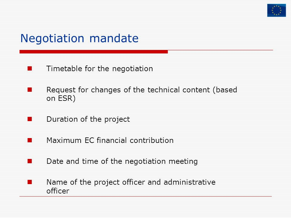 Negotiation mandate Timetable for the negotiation
