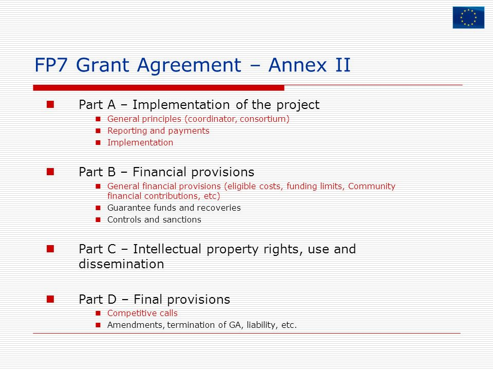 FP7 Grant Agreement – Annex II