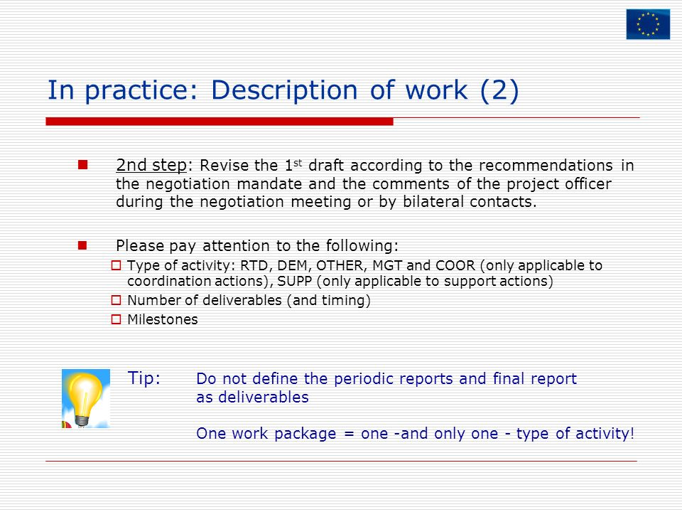 In practice: Description of work (2)