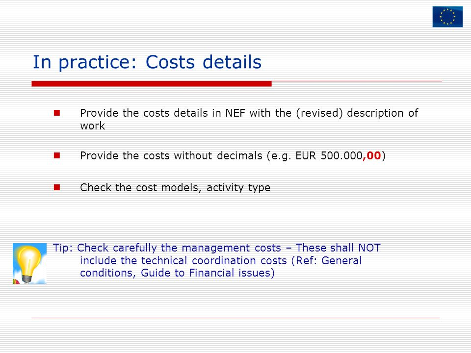 In practice: Costs details