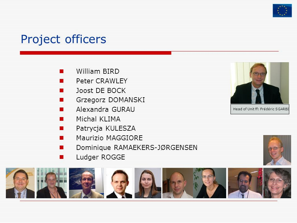 Project officers William BIRD Peter CRAWLEY Joost DE BOCK