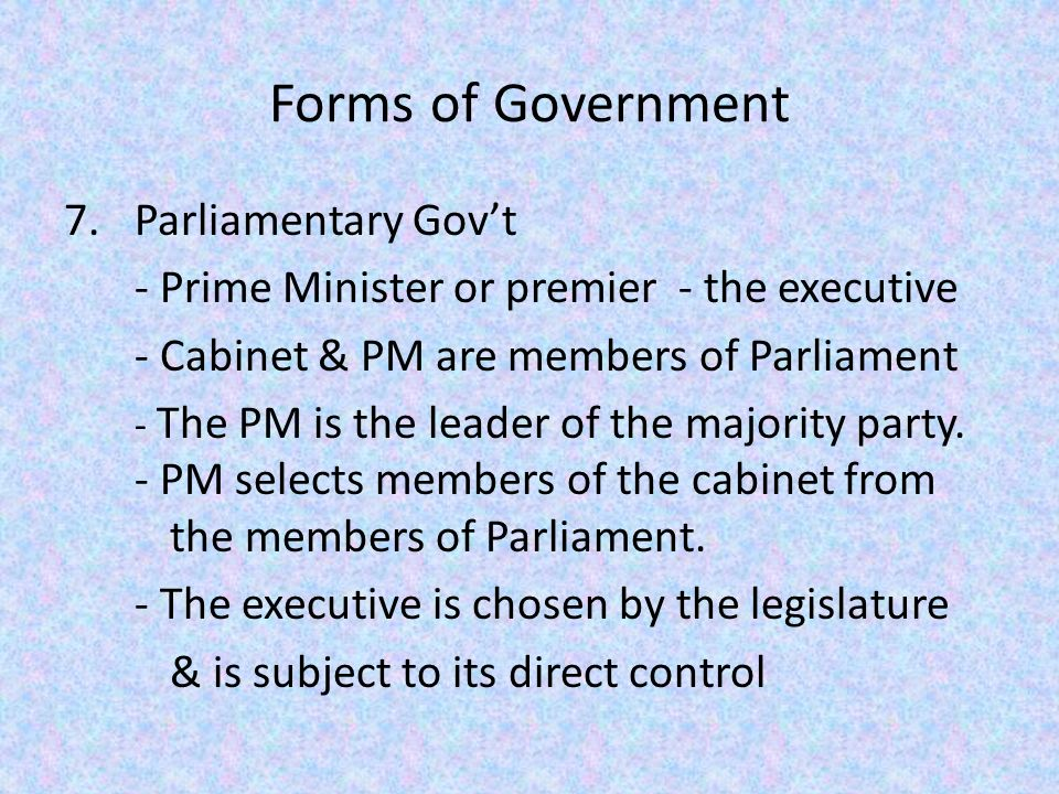 parliamentary forms of government