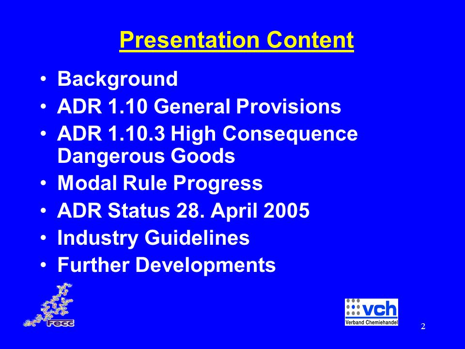 Presentation Content Background ADR 1.10 General Provisions