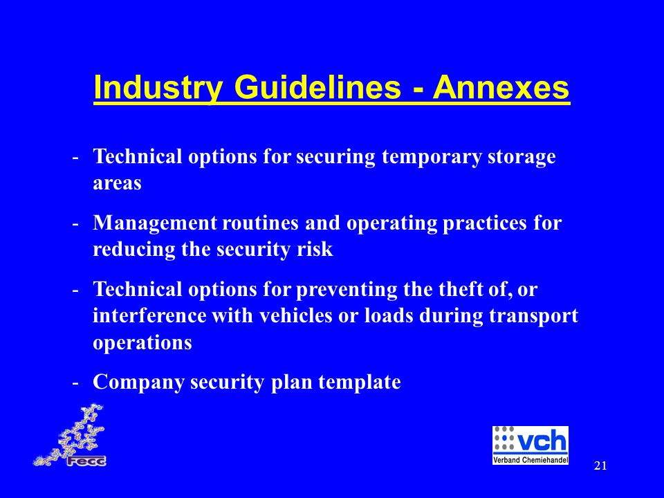 Industry Guidelines - Annexes