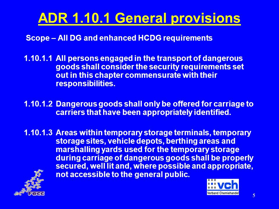 ADR 1.10.1 General provisions