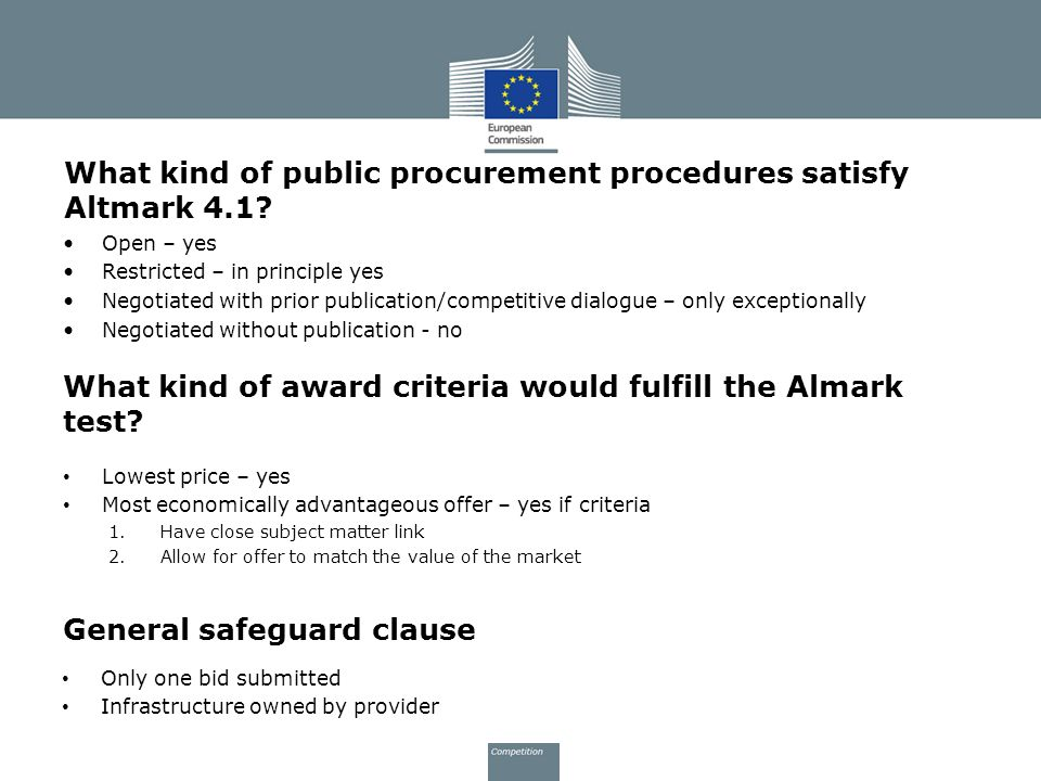What kind of public procurement procedures satisfy Altmark 4.1