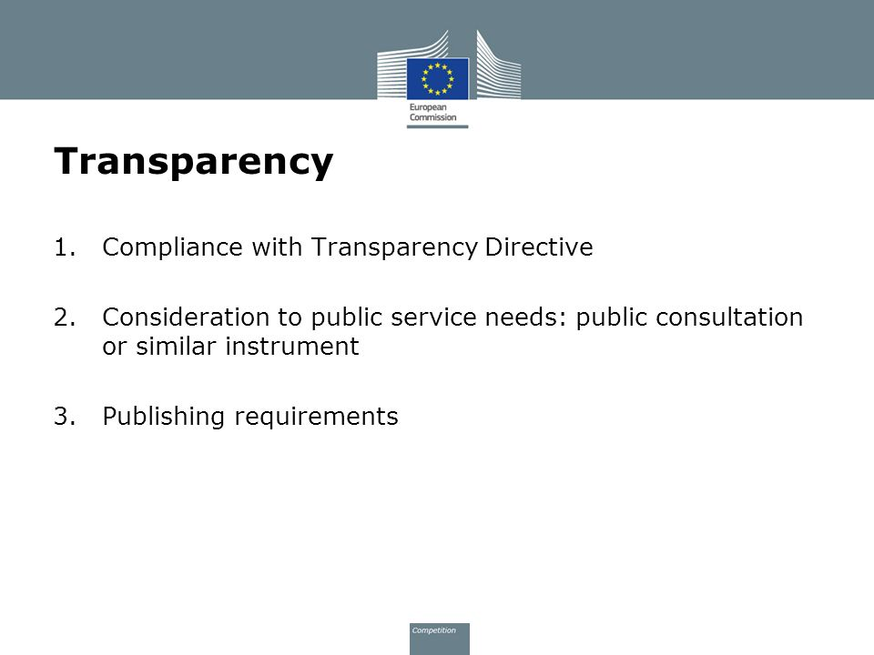Transparency Compliance with Transparency Directive