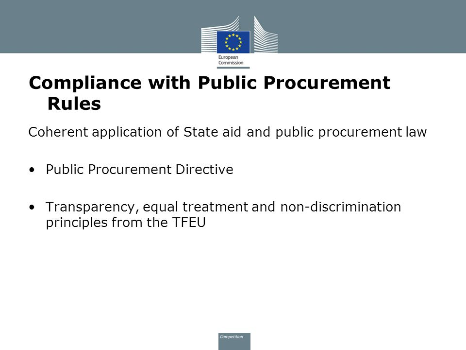 Compliance with Public Procurement Rules