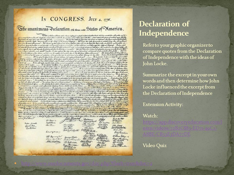 John Locke's Influence on the Writing of the Declaration of Independence Research Paper