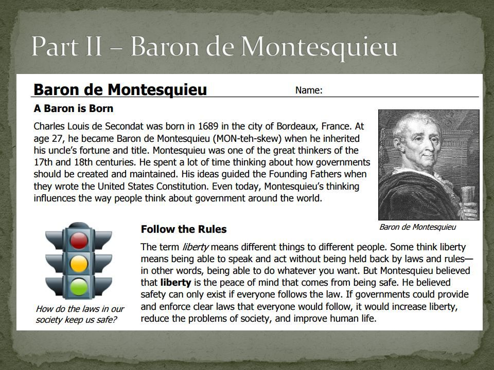 comparing john locke and baron de montesquieu It is clear, however, that montesquieu did not invent the doctrine of the separation of powers, and that much of what he had to say in book xi, chapter 6 of the de l'esprit des loix was taken over from contemporary english writers, and from john locke1 montesquieu, it is true, contributed new ideas to the doctrine he emphasized certain .