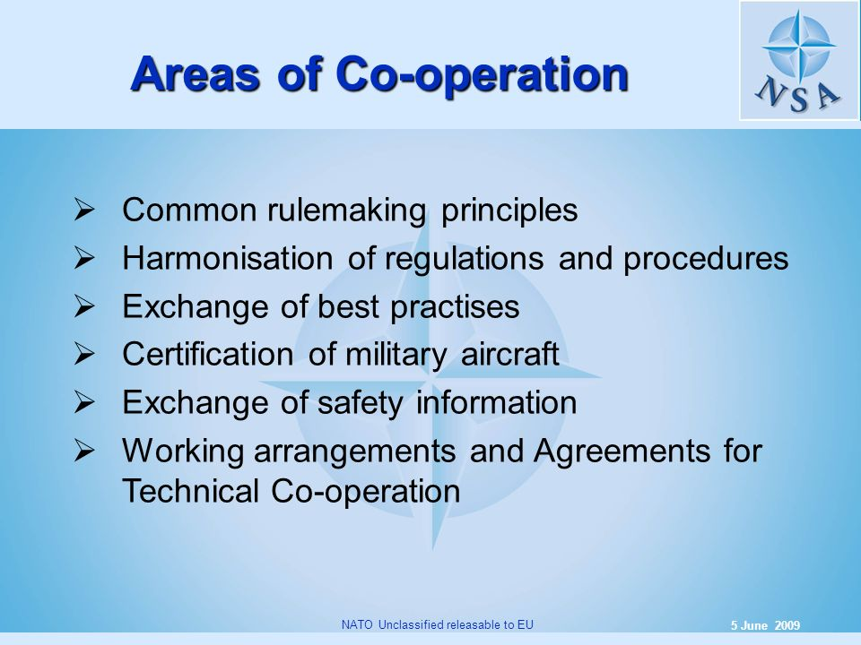 Areas of Co-operation Common rulemaking principles