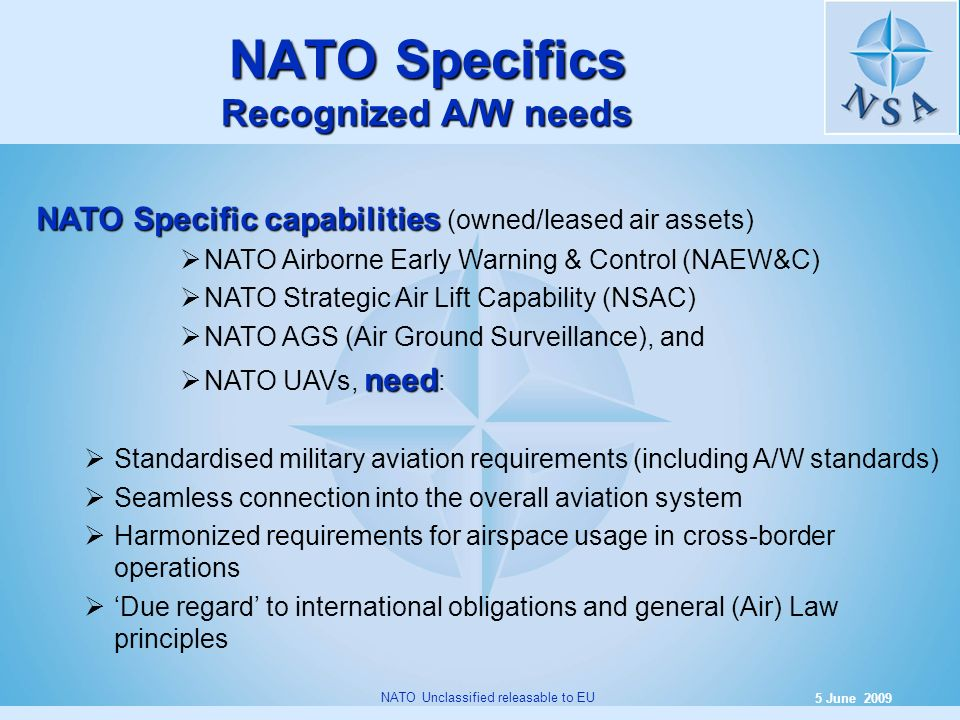 NATO Specifics Recognized A/W needs