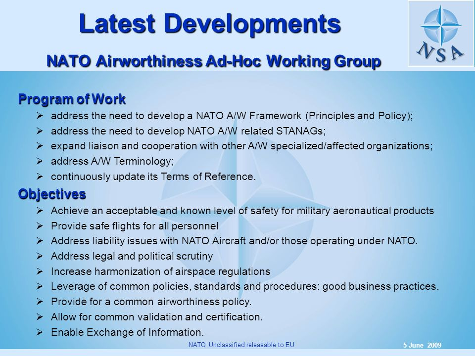 Latest Developments NATO Airworthiness Ad-Hoc Working Group