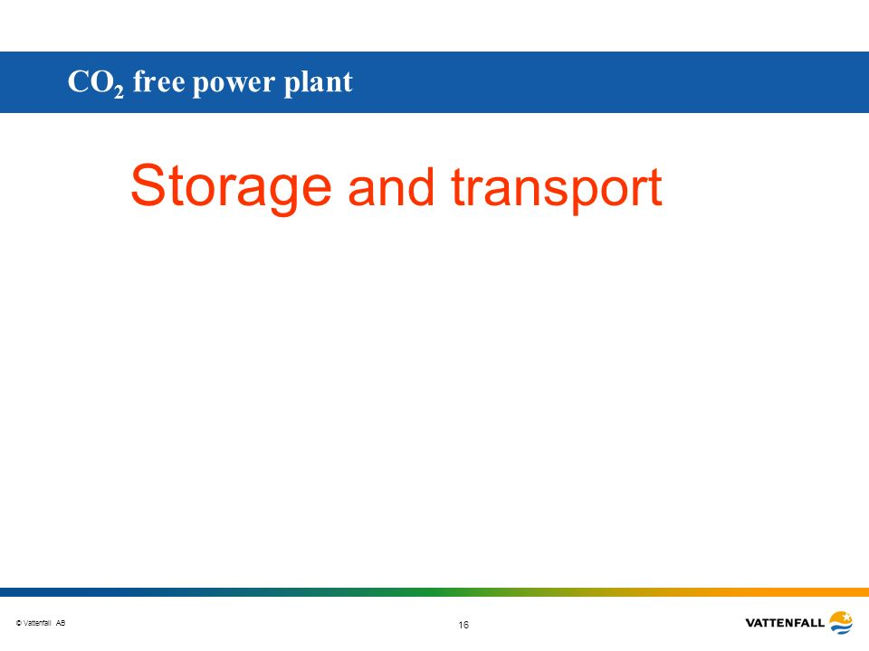 CO2 free power plant Storage and transport