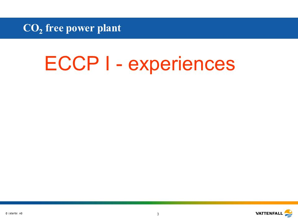 CO2 free power plant ECCP I - experiences