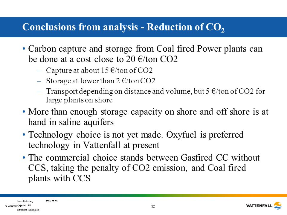 Conclusions from analysis - Reduction of CO2
