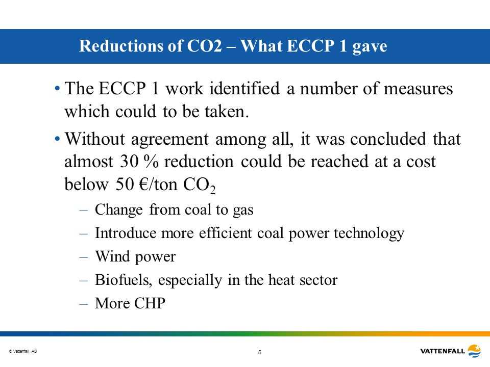 Reductions of CO2 – What ECCP 1 gave