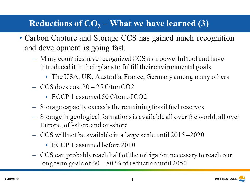 Reductions of CO2 – What we have learned (3)