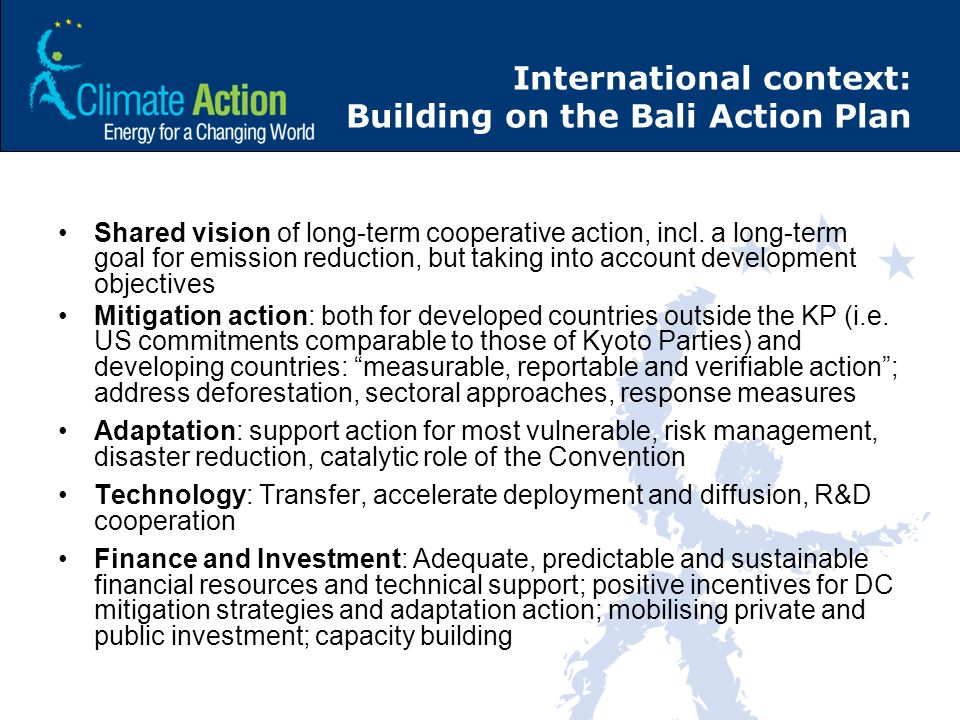 International context: Building on the Bali Action Plan