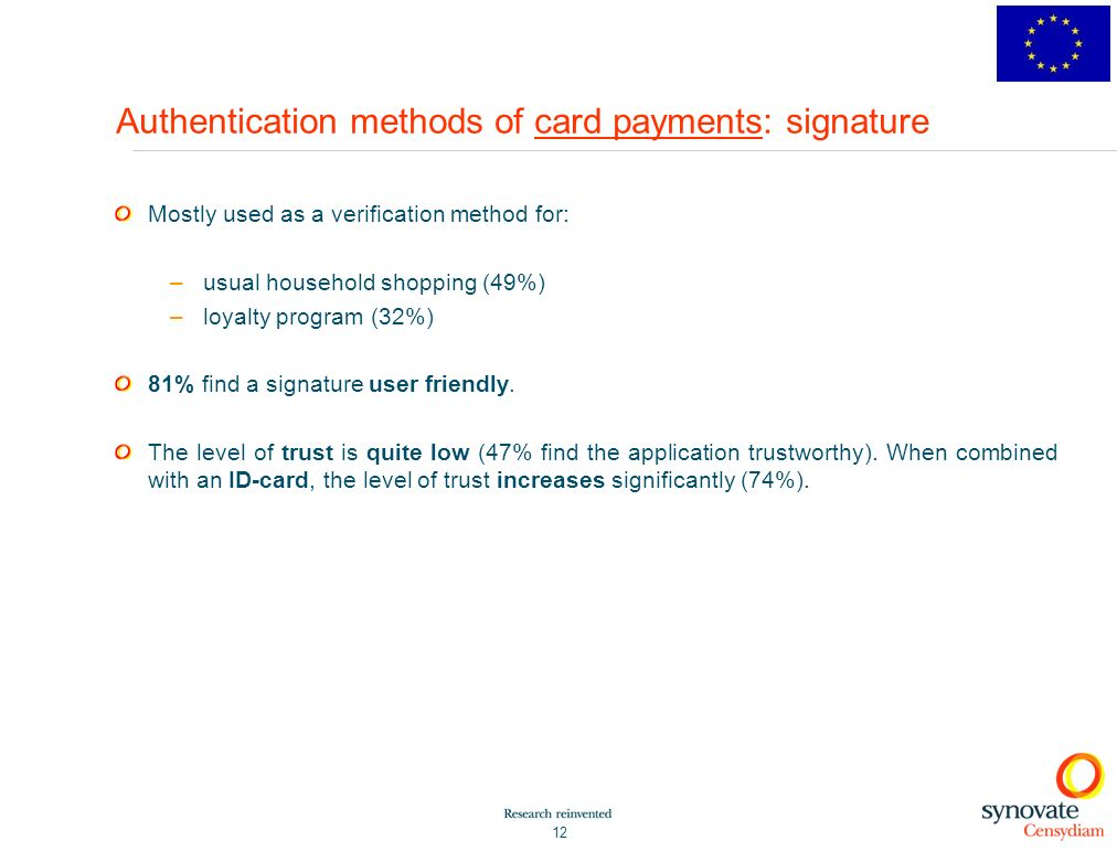 Authentication methods of card payments: signature
