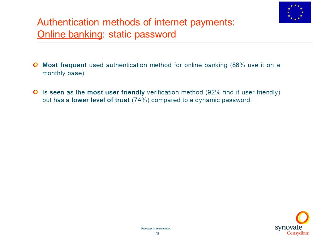 Authentication methods of internet payments: Online banking: static password