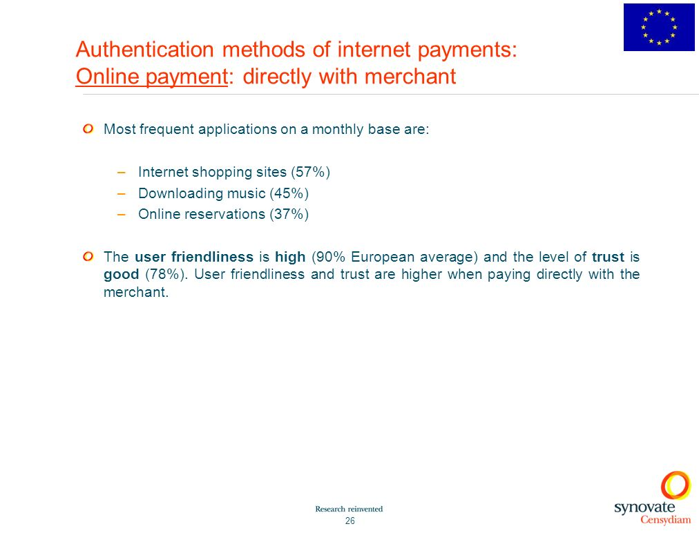 Authentication methods of internet payments: Online payment: directly with merchant