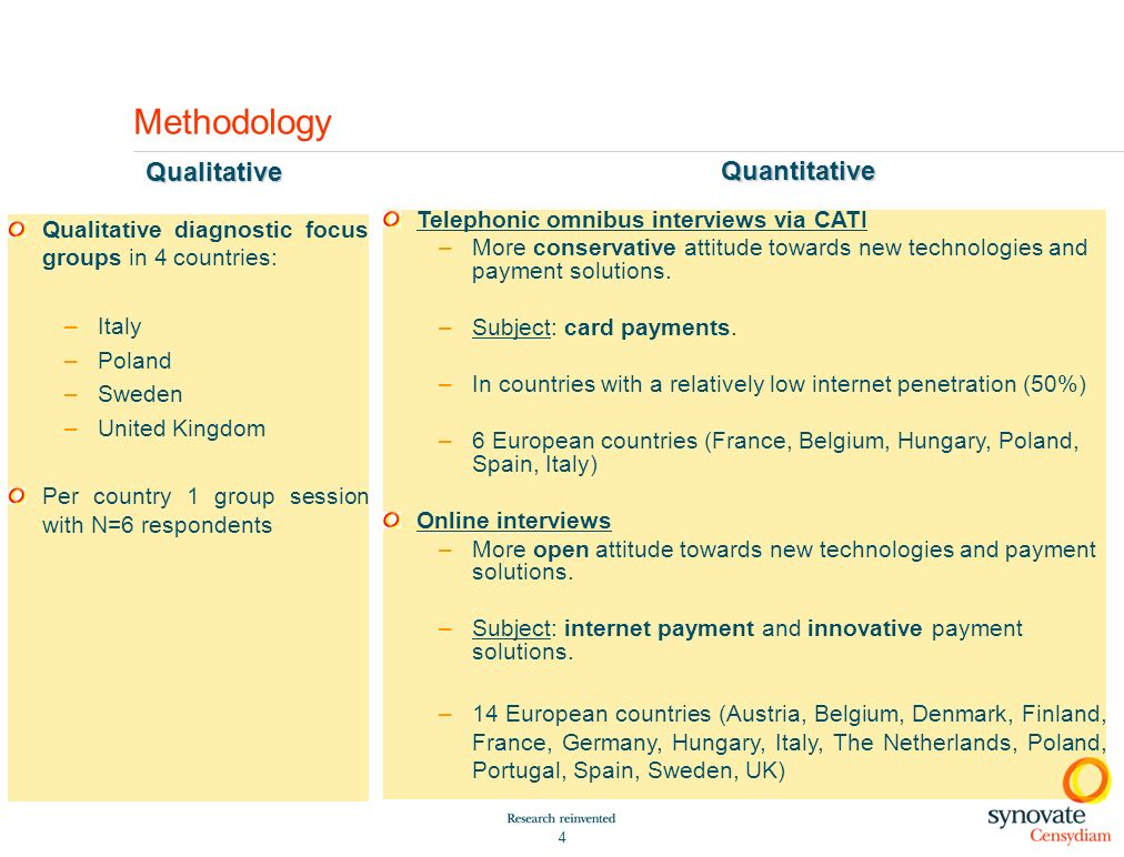 Methodology Qualitative Quantitative