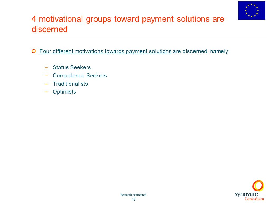 4 motivational groups toward payment solutions are discerned
