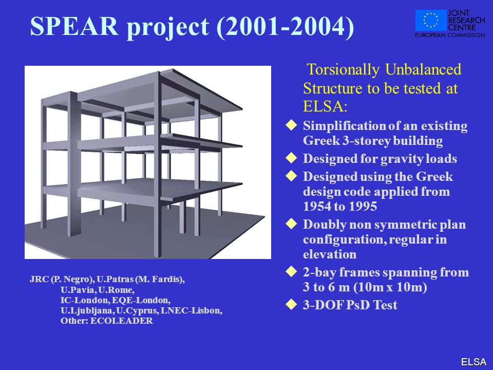 SPEAR project (2001-2004) Torsionally Unbalanced Structure to be tested at ELSA: Simplification of an existing Greek 3-storey building.