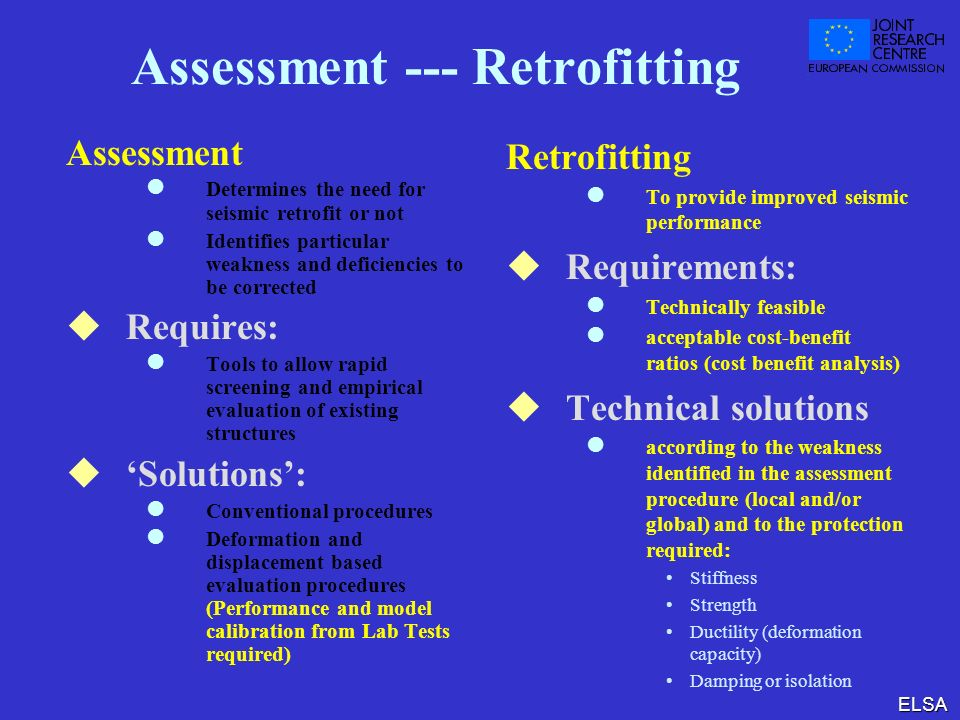 Assessment --- Retrofitting
