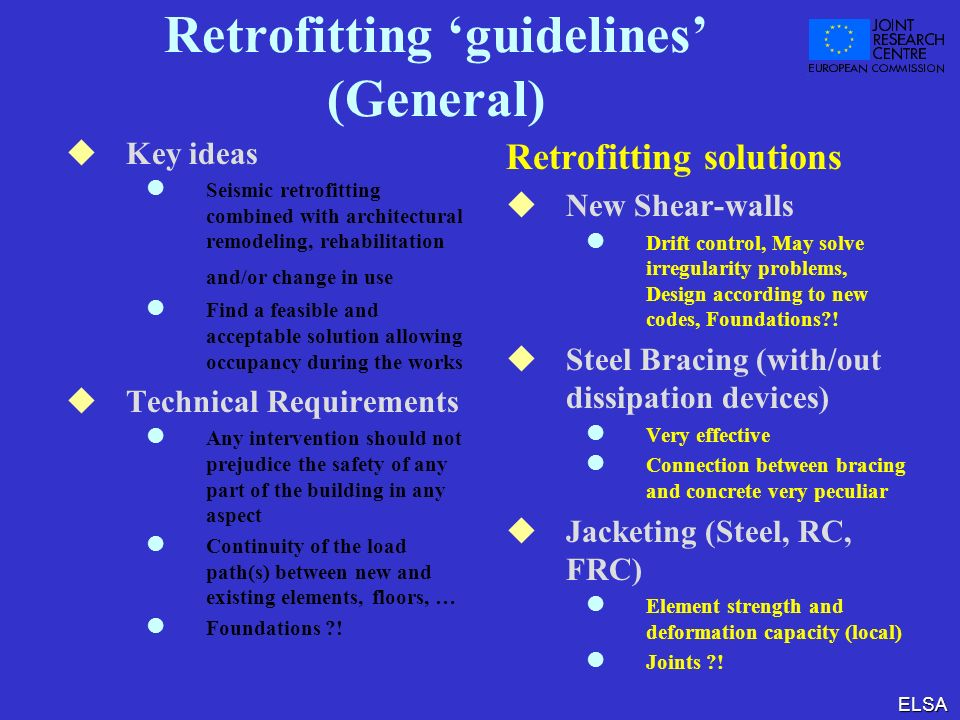 Retrofitting 'guidelines' (General)