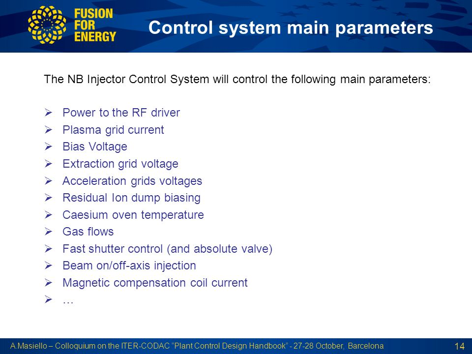 Control system main parameters